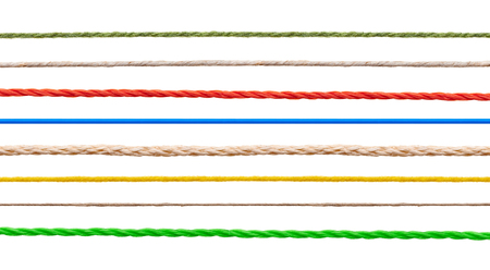 cable knit: collection of  various strings on white background. each one is shot separately
