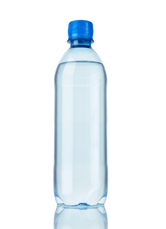 water bottles: close up of  a plastic bottle on white background