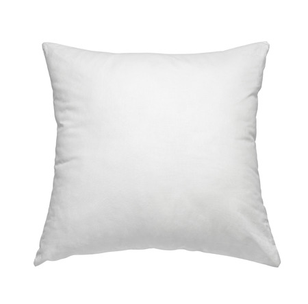 cushion: close up of  a white pillow on white background