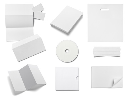 separately: collection of  various white business print templates on white background. each one is shot separately Stock Photo