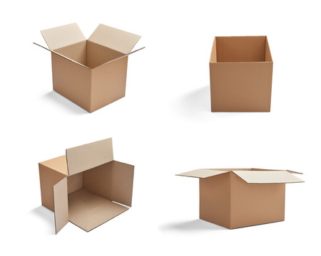 object: collection of  various cardboard boxes on white background Stock Photo