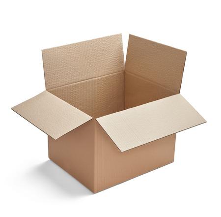 Gros plan d'une boîte en carton sur fond blanc Banque d'images
