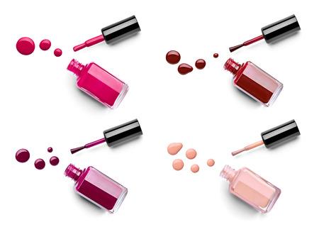 flacon vernis � ongle: collection de divers bouteille de vernis � ongles et de baisse sur fond blanc. chacun est shor s�par�ment