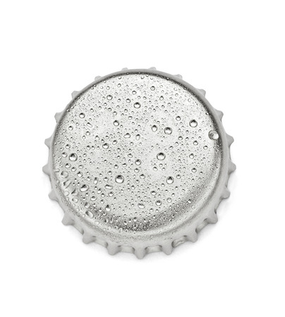 bottle with cap: close up of  a bottle cap on white background