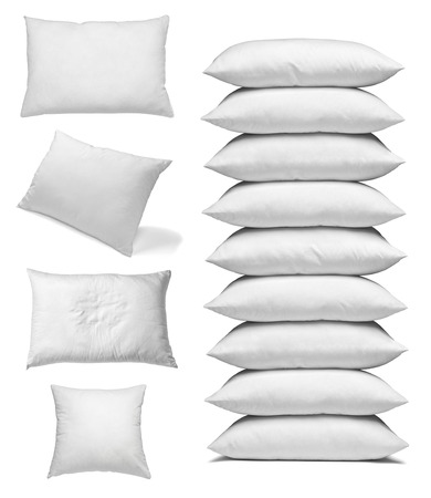collection of various white pillows on white background. each one is shot separately Stok Fotoğraf - 38009720