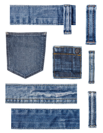 worn jeans: collection of various  jeans parts on white background. each one is shot separately.