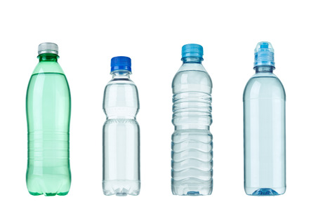 purified water: collection of  various plastic bottles on white background. each one is shot separately