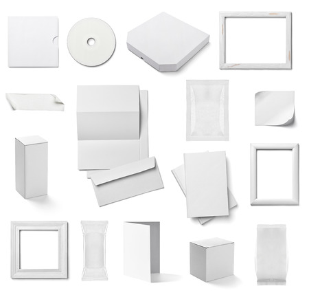 collection of  various white business print templates on white background. each one is shot separately photo