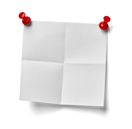 pin board: close up of  a note paper with a red push pin on white background Stock Photo