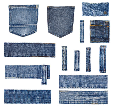 jeans texture: collection of various  jeans parts on white background. each one is shot separately.
