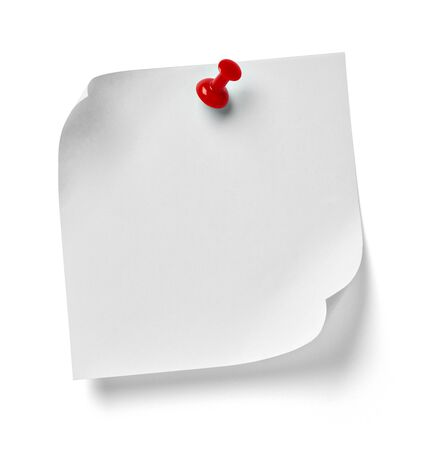 paper pin: close up of  a note paper with a red push pin on white background Stock Photo
