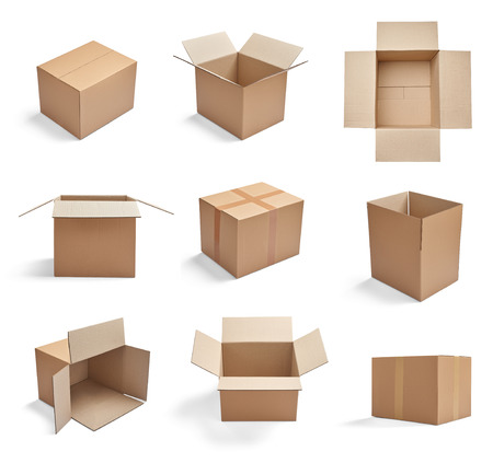 corrugated box: collection of  various cardboard boxes on white background Stock Photo