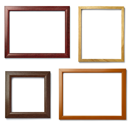 collection of  various vintage wood frame on white background Banque d'images