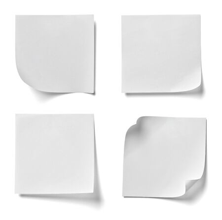 separately: collection of various note paper on white background. each one is shot separately