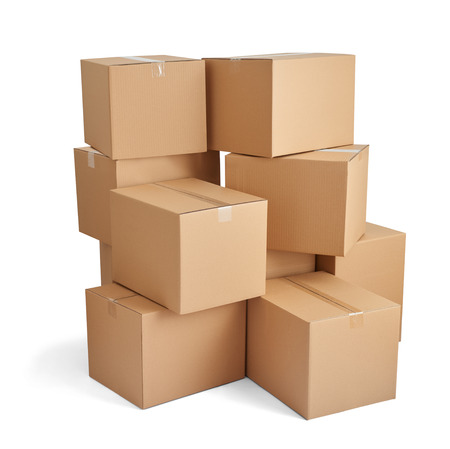 close up of  a stack of cardboard boxes on white background 스톡 콘텐츠