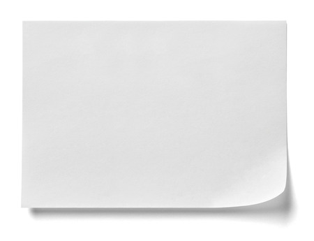 bulletin board: close up of  a note paper with a red push pin on white background Stock Photo