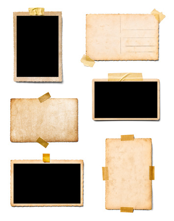 collection of various old photos instant film on white background Standard-Bild