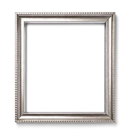 silver frame: close up of a vintage wood frame on white background