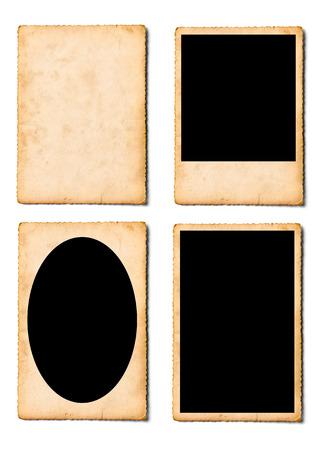 collection of various old photos instant film on white background Banque d'images