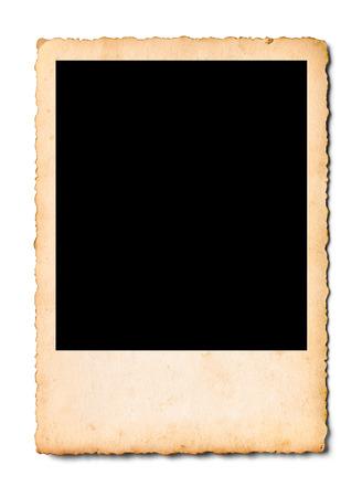 Sluit omhoog van een oude foto op witte achtergrond Stockfoto