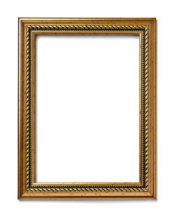 marco madera: close up of  a vintage wood frame on white background Foto de archivo
