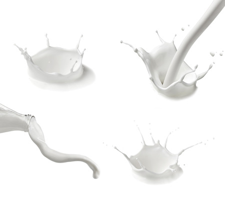 collection of  various milk bottles and  splashes on white background