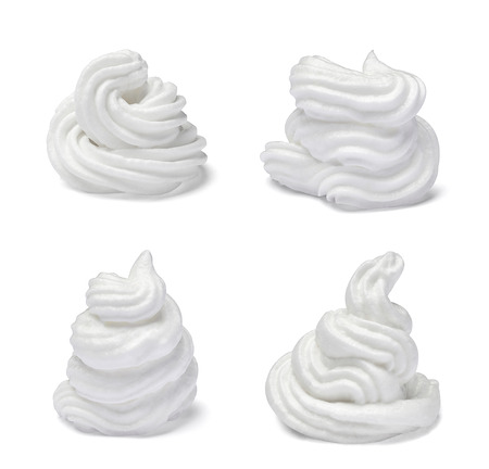 separately: collection of  various white whipped cream on white background. each one is shot separately