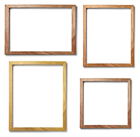 pictures: collection of  various vintage wood frame on white background Stock Photo
