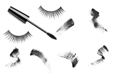 separately: collection of a mascara  shapes on white background. each one is shot separately Stock Photo