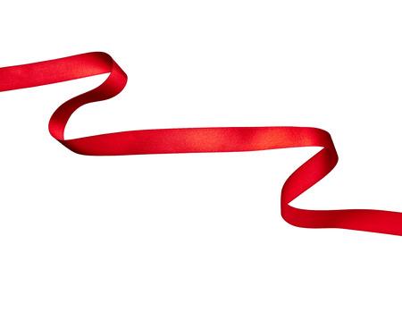 close-up van een rood lint op een witte achtergrond Stockfoto