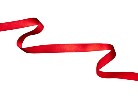 close up of  a red ribbon on white background