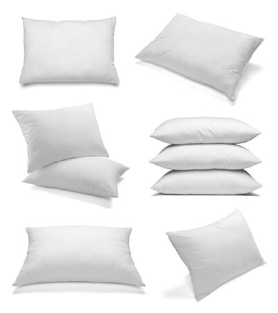separately: collection of various white pillows on white background. each one is shot separately