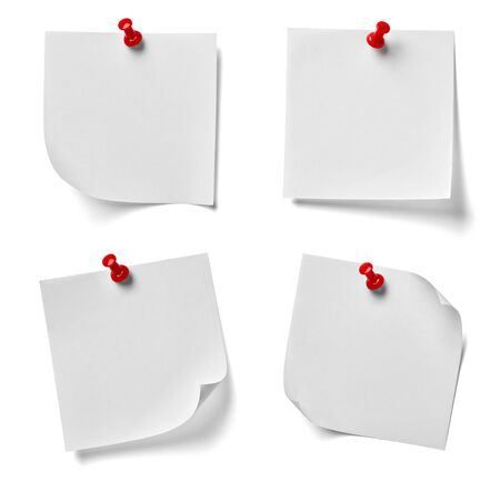 paper pin: collection of various note paper with a red push pin on white background. each one is shot separately Stock Photo