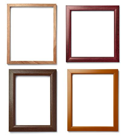 marcos cuadros: colección de varios marcos de madera de la vendimia en el fondo blanco
