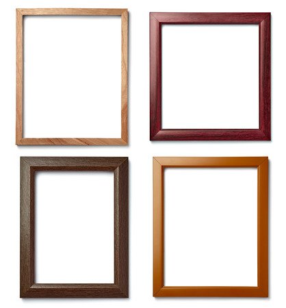 collection of  various vintage wood frame on white background Banco de Imagens