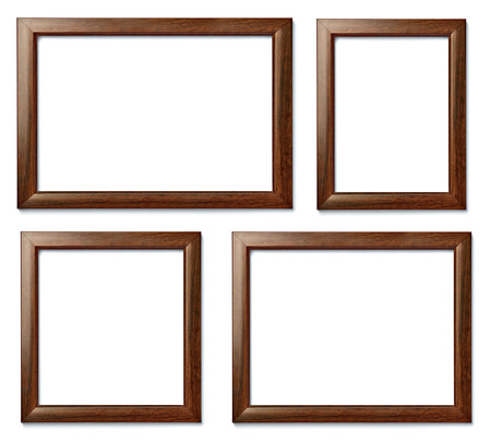 frame wall: collection of  various vintage wood frame on white background Stock Photo