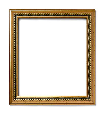 old frame: close up of  a vintage wood frame on white background Stock Photo