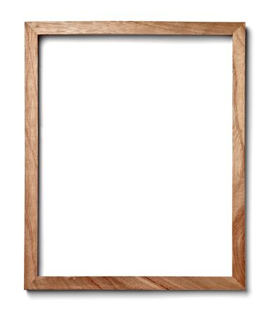 home office: close up of  a vintage wood frame on white background Stock Photo