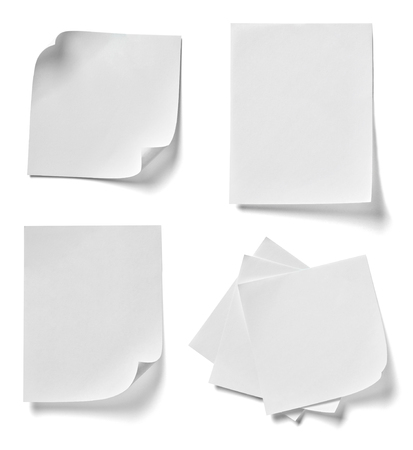 note: collection of  various note papers on white background. each one is shot separately