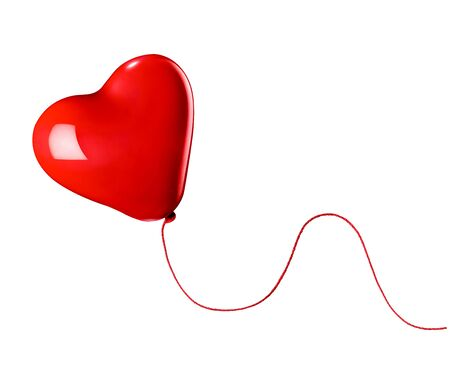 white heart: close up of  a red balloon heart shape on white background