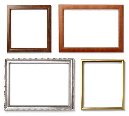 Sammlung von verschiedenen Vintage-Holz-Rahmen auf weißem Hintergrund Standard-Bild - 45357387