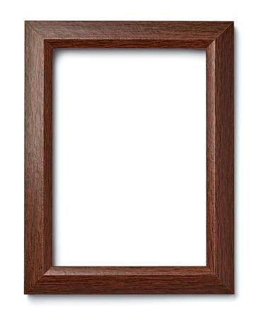 marco madera: Cerca de un marco de madera de la vendimia en el fondo blanco