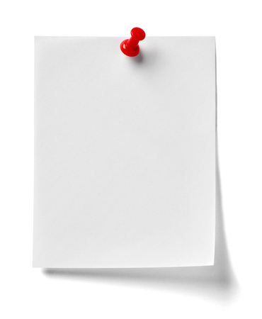 close up of  a note paper with a red push pin on white background Banque d'images