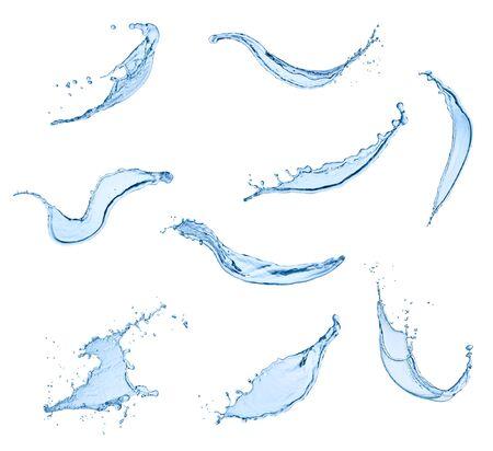 pulverizador: colección de varios salpicaduras de agua sobre fondo blanco. cada una se dispara por separado