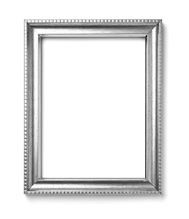 silver frame: close up of  a vintage wood frame on white background Stock Photo