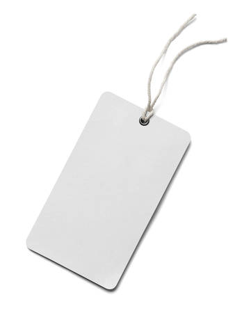 price label: close up of  a price label note on white background