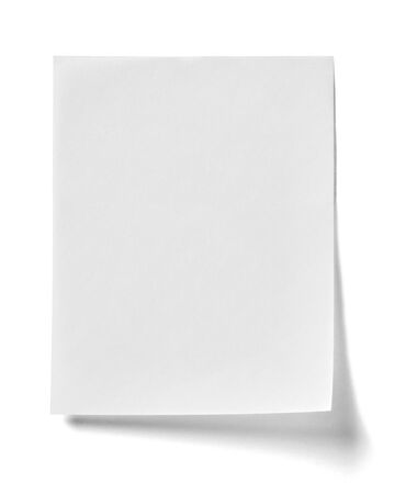 tack: close up of  a note paper with a red push pin on white background Stock Photo
