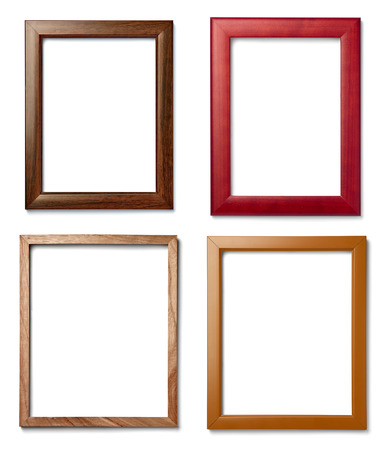 old picture: collection of  various vintage wood frame on white background Stock Photo