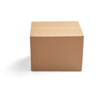 ship order: close up of  a cardboard box on white background