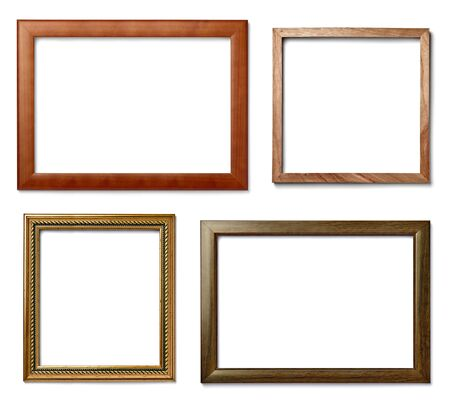 marco madera: colección de varios marcos de madera de la vendimia en el fondo blanco